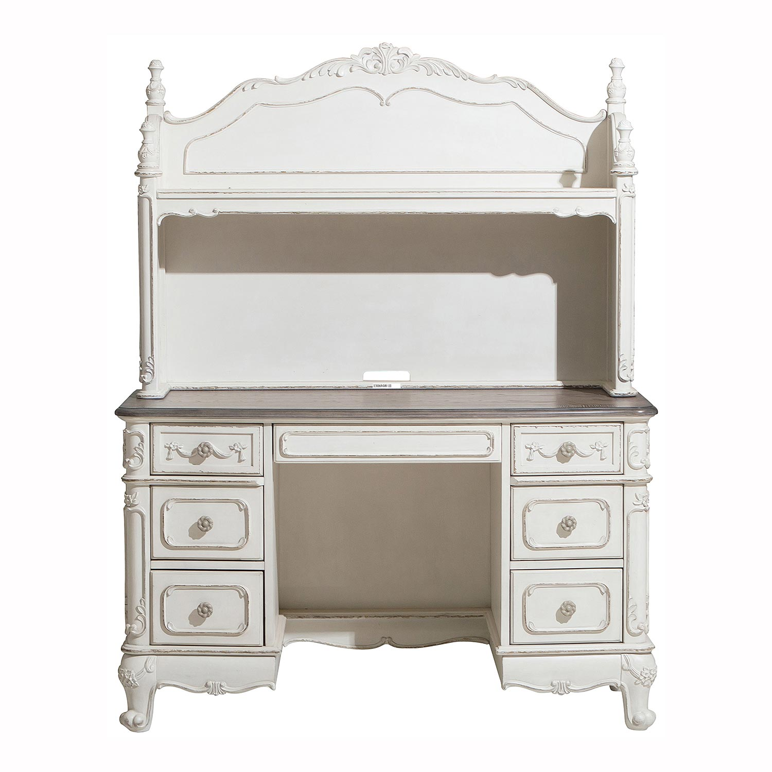 Homelegance Cinderella Writing Desk Hutch - Antique White with Gray Rub-Through