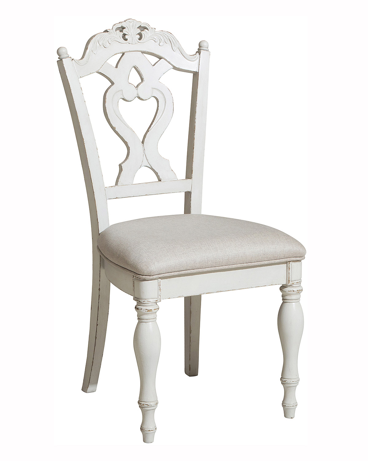 Homelegance Cinderella Desk Chair - Antique White with Gray Rub-Through