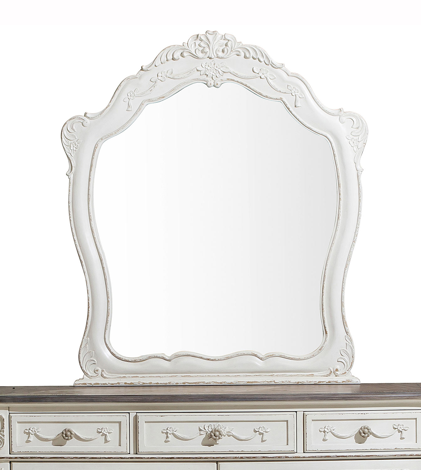 Homelegance Cinderella Mirror - Antique White with Gray Rub-Through