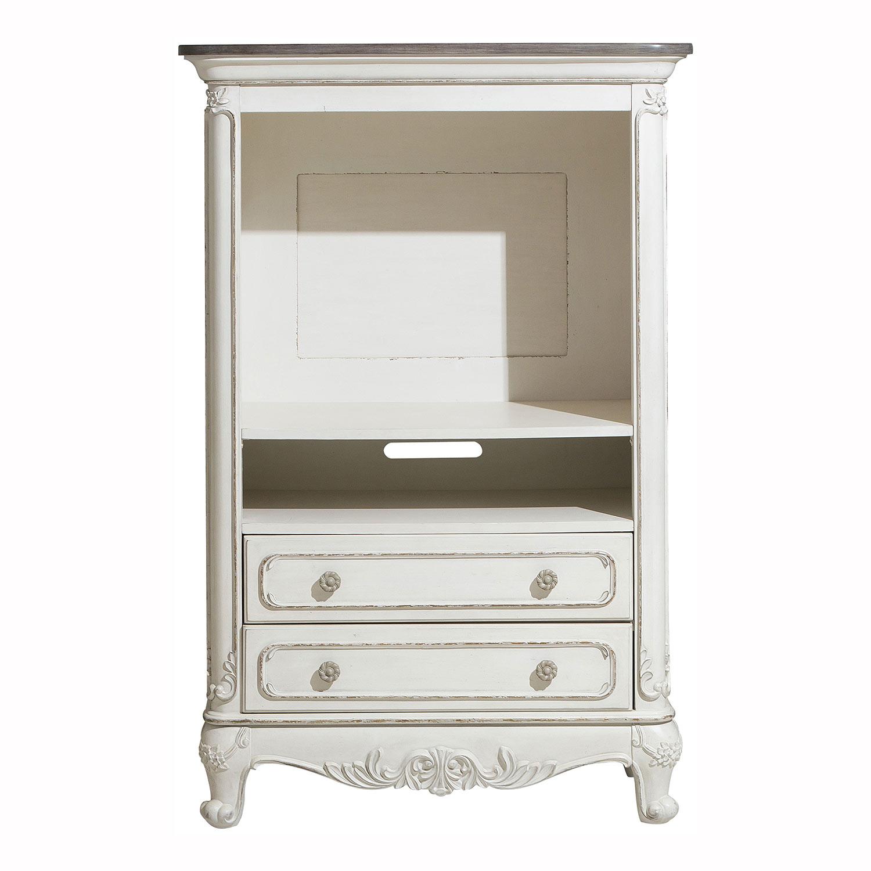 Homelegance Cinderella Armoire - Antique White with Gray Rub-Through