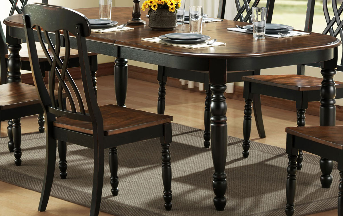 Homelegance ohana black dining table 1393bk 78 for Large dark wood dining table