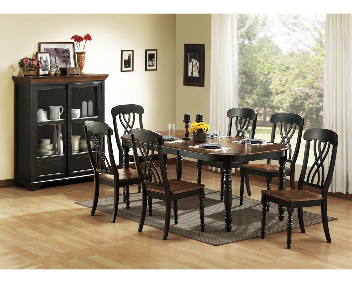 homelegance ohana black dining table - Black And Wood Dining Table
