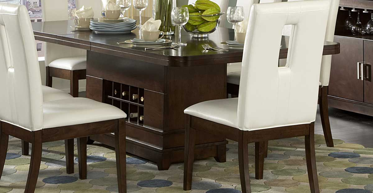 Attractive Homelegance Elmhurst Dining Table With Wine Storage
