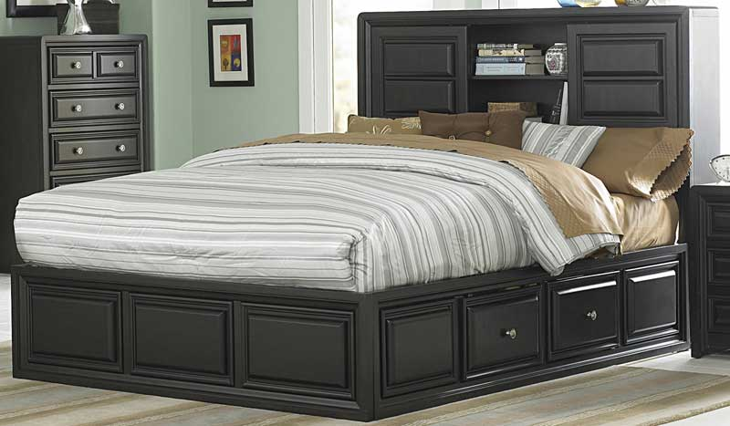 Homelegance Abel Platform Bed with Storage Headboard and Rails ...