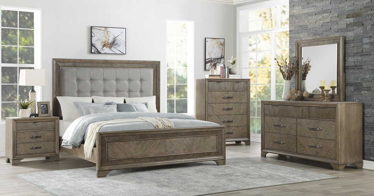 Homelegance Caruth Bedroom Set - Gray Fabric