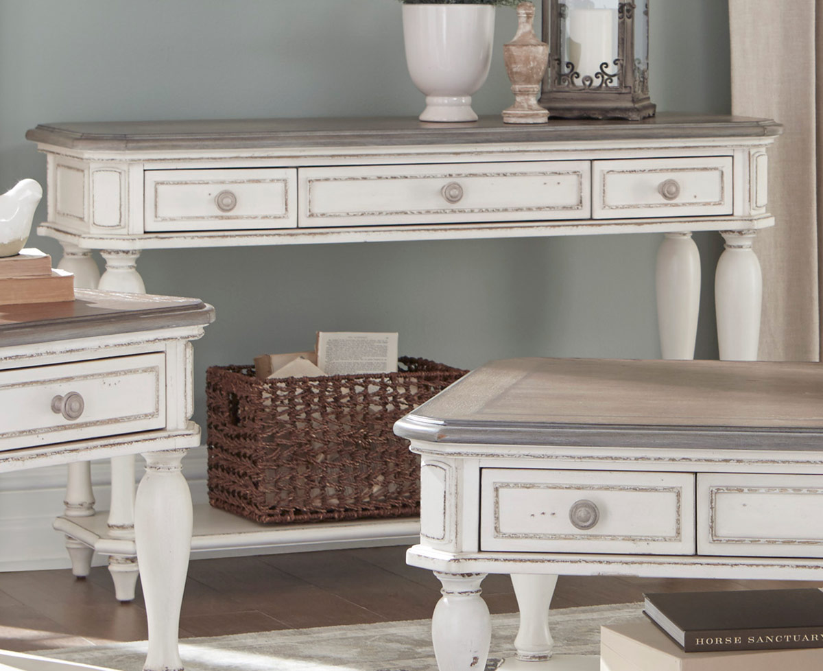 Homelegance Willowick Sofa Table with Three Functional Drawers - Antique White Rub-Through/Brown Cherry Tops