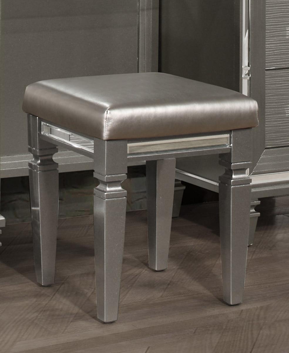 Homelegance Tamsin Vanity Stool - Silver-Gray Metallic
