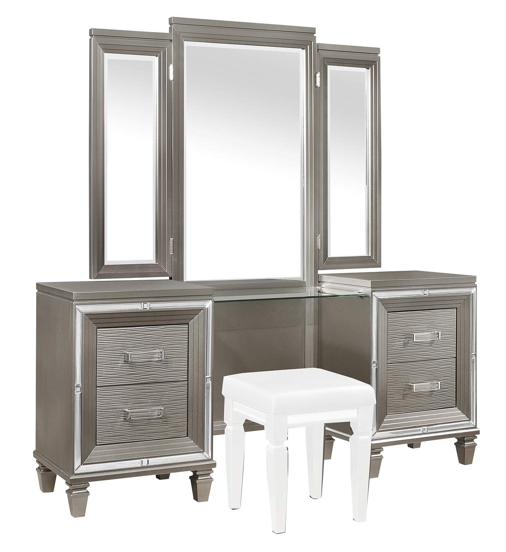 Homelegance Tamsin Vanity Dresser with Mirror - Silver-Gray Metallic