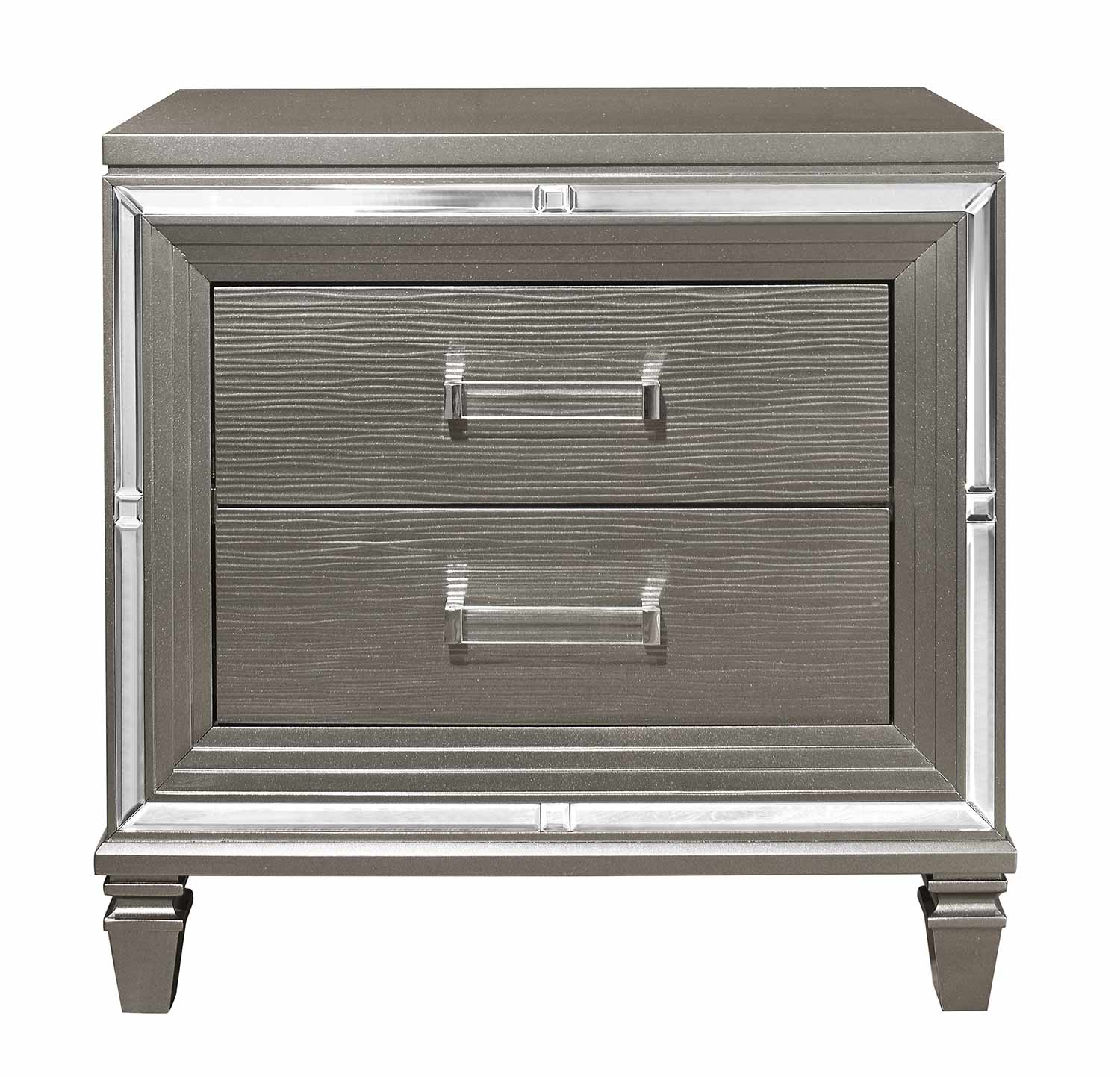 Homelegance Tamsin Night Stand - Silver-Gray Metallic