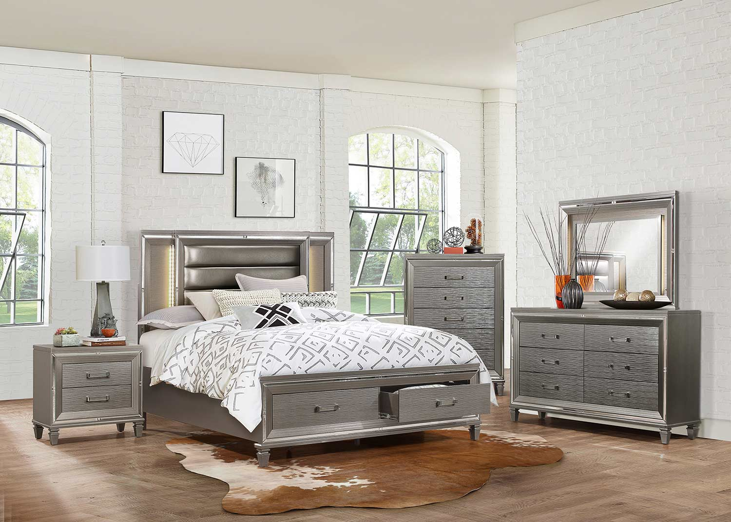 Homelegance Tamsin Bedroom Set - Silver-Gray Metallic