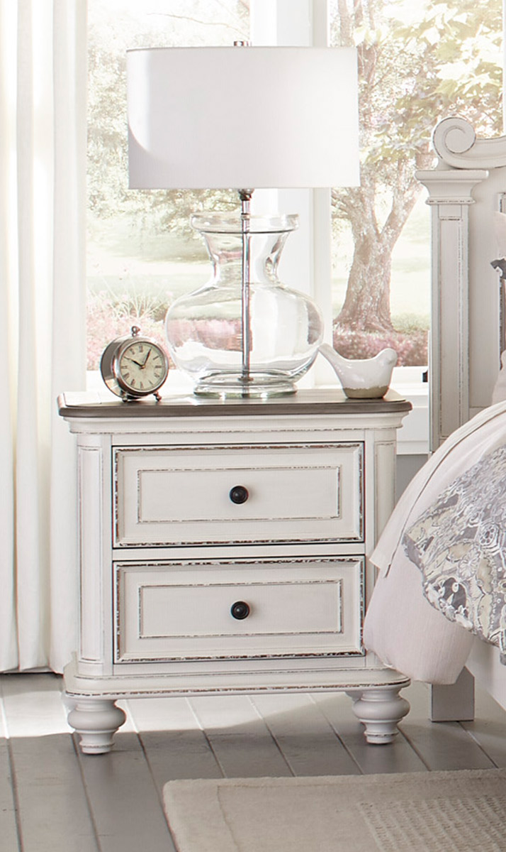 Homelegance Baylesford Night Stand - Antique White Rub-Through Finish