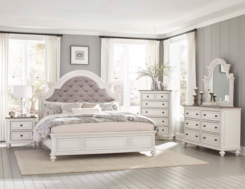 Homelegance Baylesford Bedroom Set - Antique White Rub-Through Finish