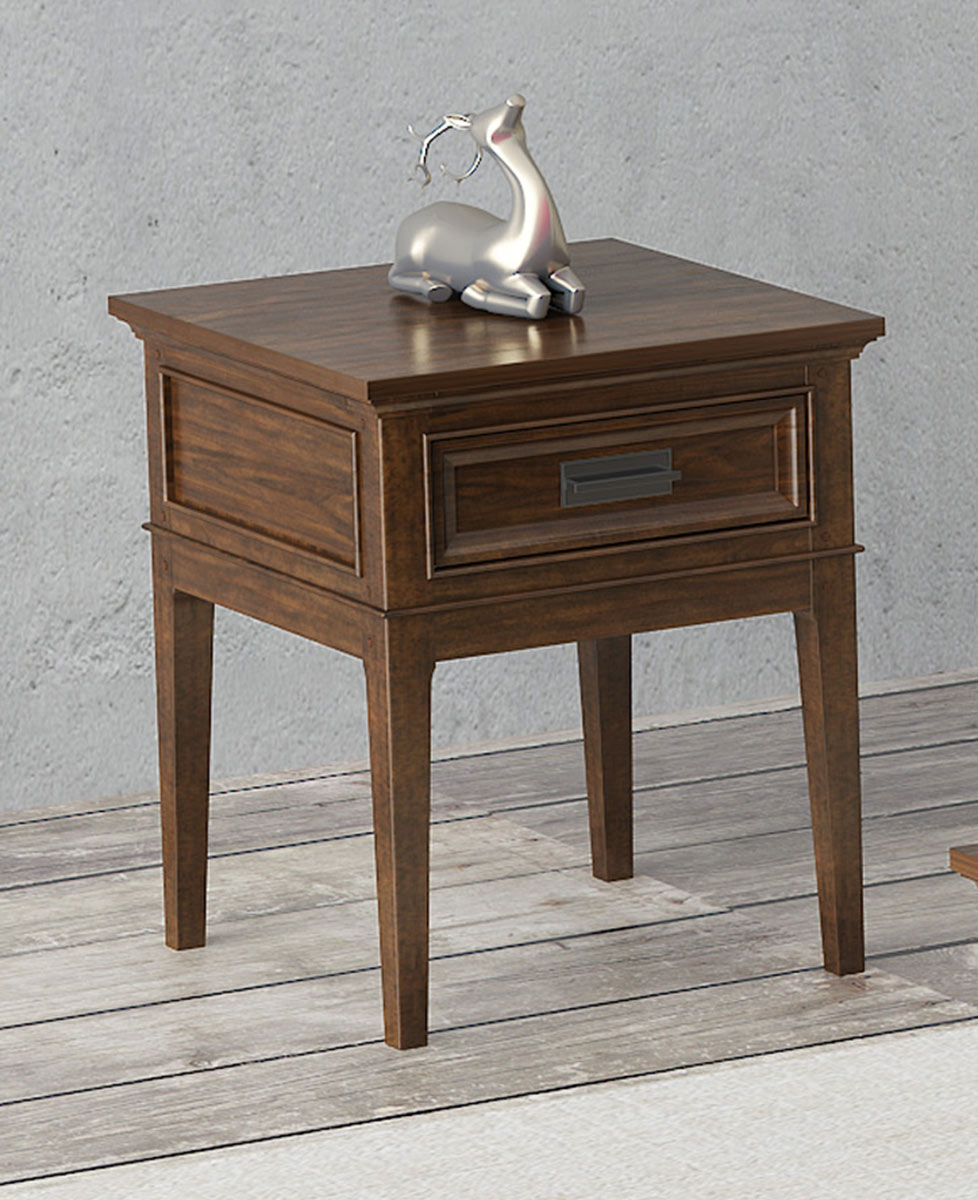Homelegance Frazier Park End Table with Functional Drawer - Brown Cherry