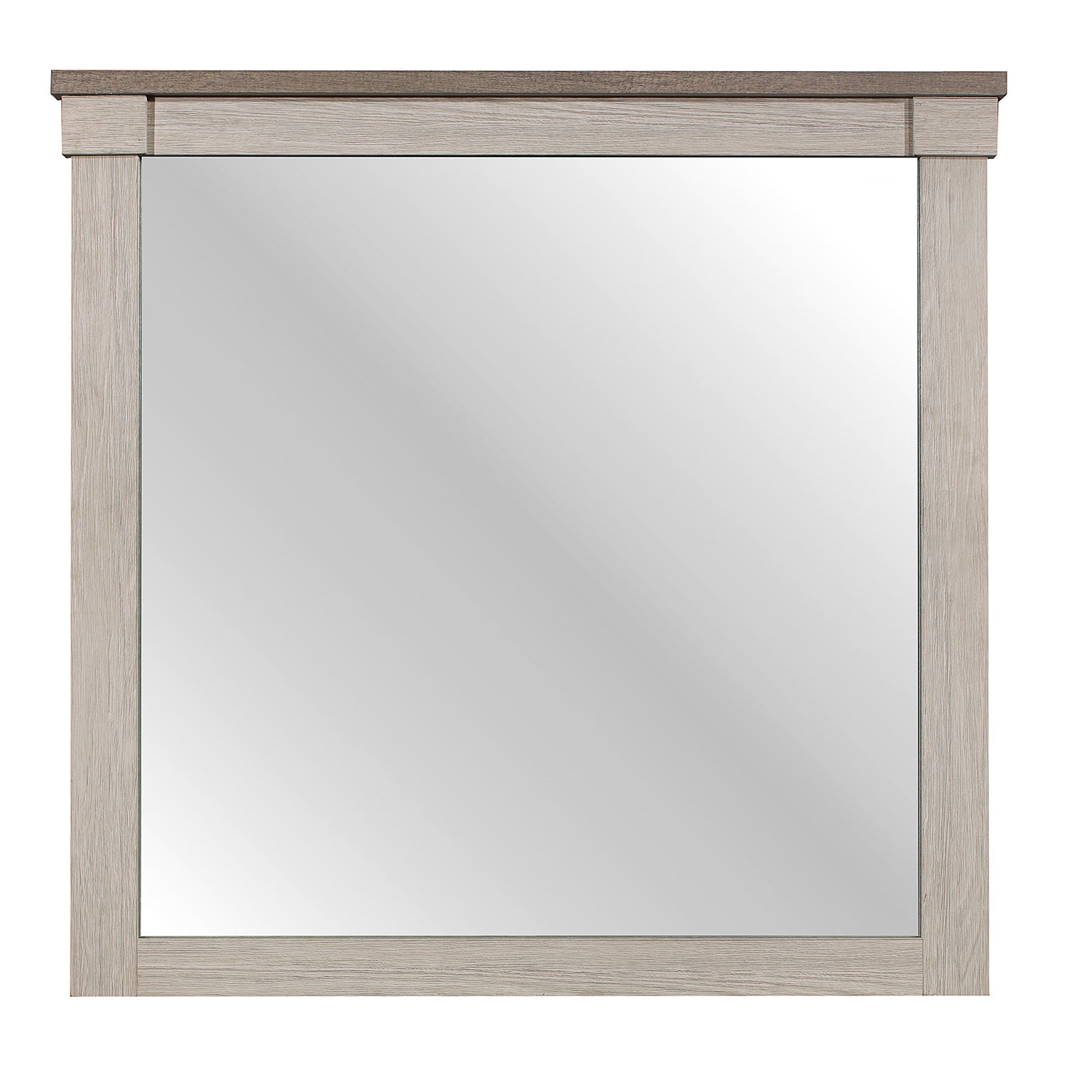 Homelegance Arcadia Mirror - White Framing and Variegated Gray Printed Faux-Wood Grain Veneer