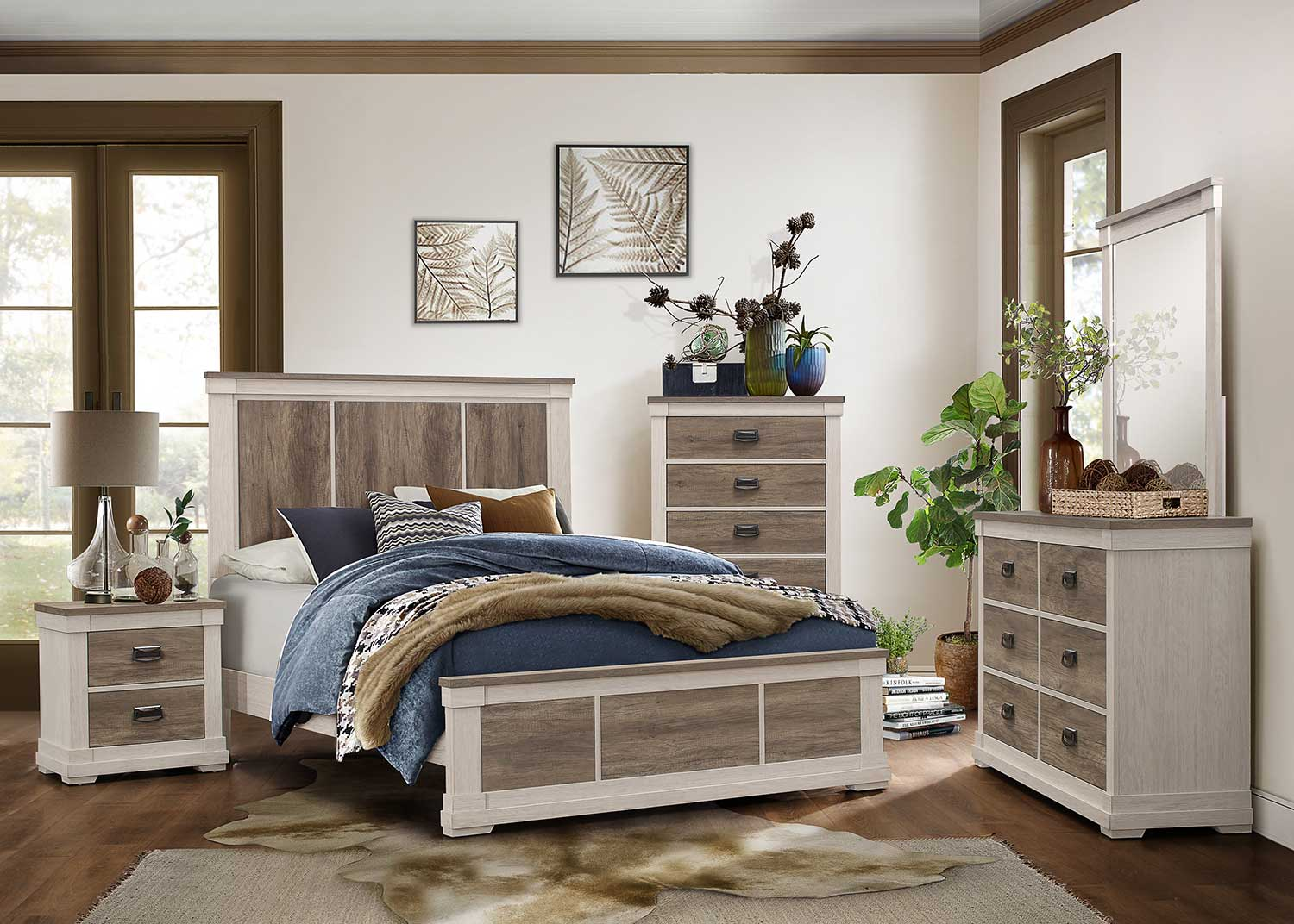 Homelegance Arcadia Bedroom Set - White Framing and Variegated Gray Printed Faux-Wood Grain Veneer