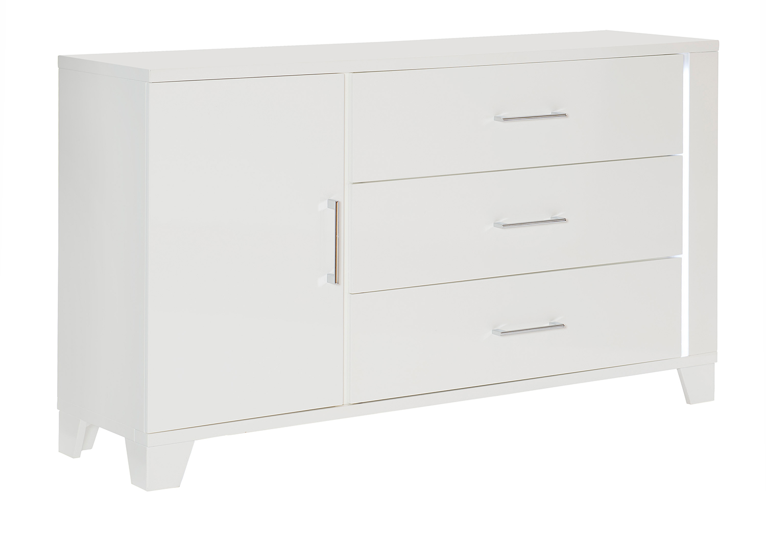 Homelegance Kerren or Keren Dresser with LED Lighting - White High Gloss