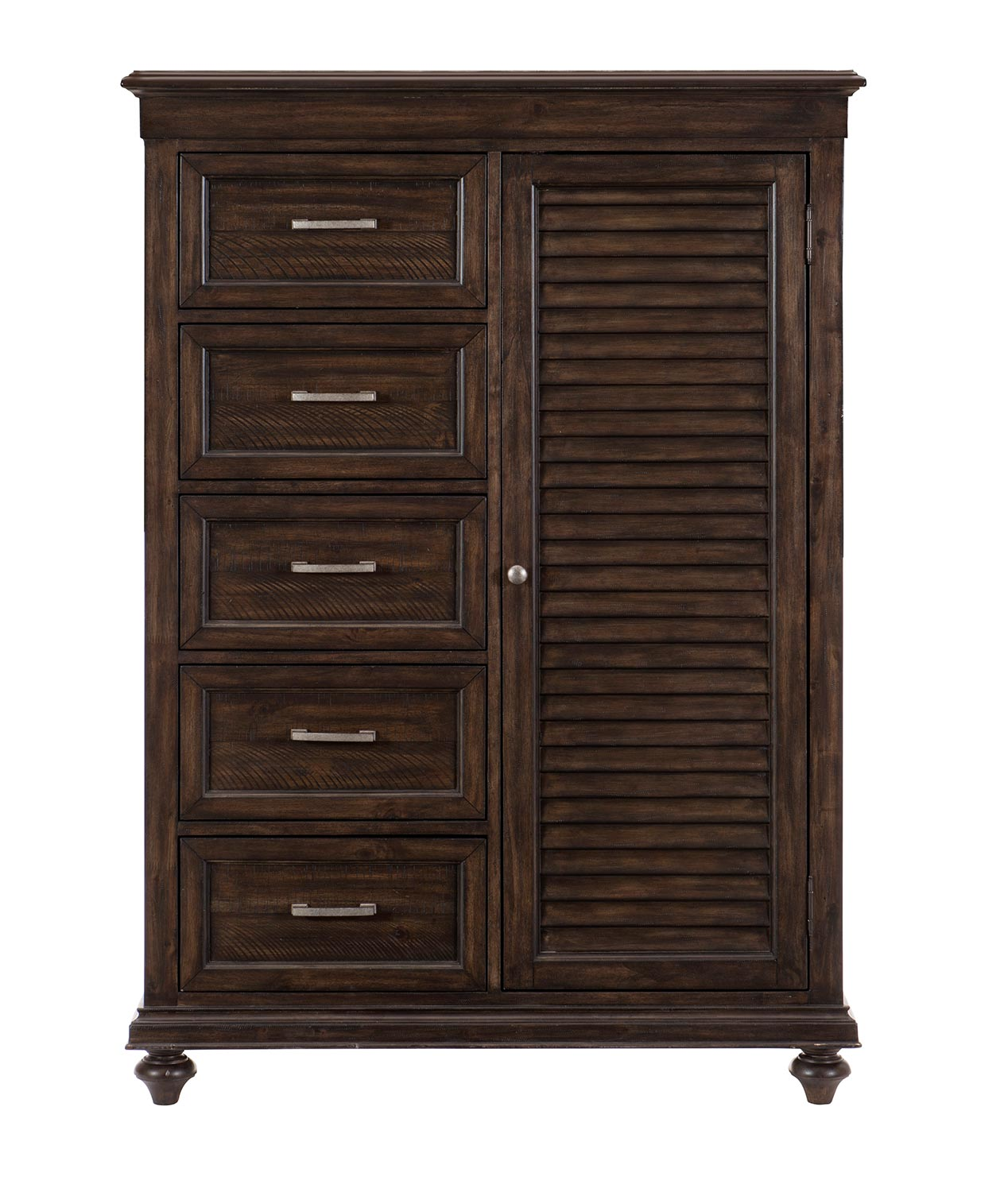 Homelegance Cardano Wardrobe Chest - Driftwood Charcoal over Acacia Solids and Veneers