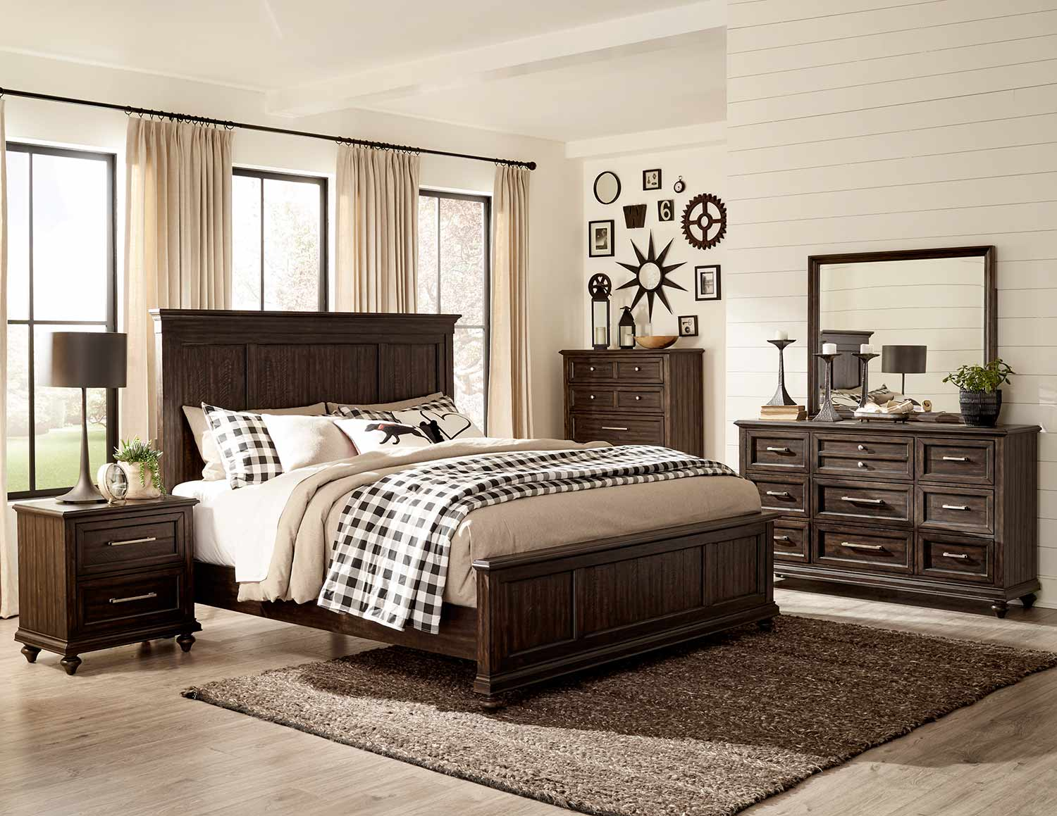 Homelegance Cardano Bedroom Set - Driftwood Charcoal over Acacia Solids and Veneers