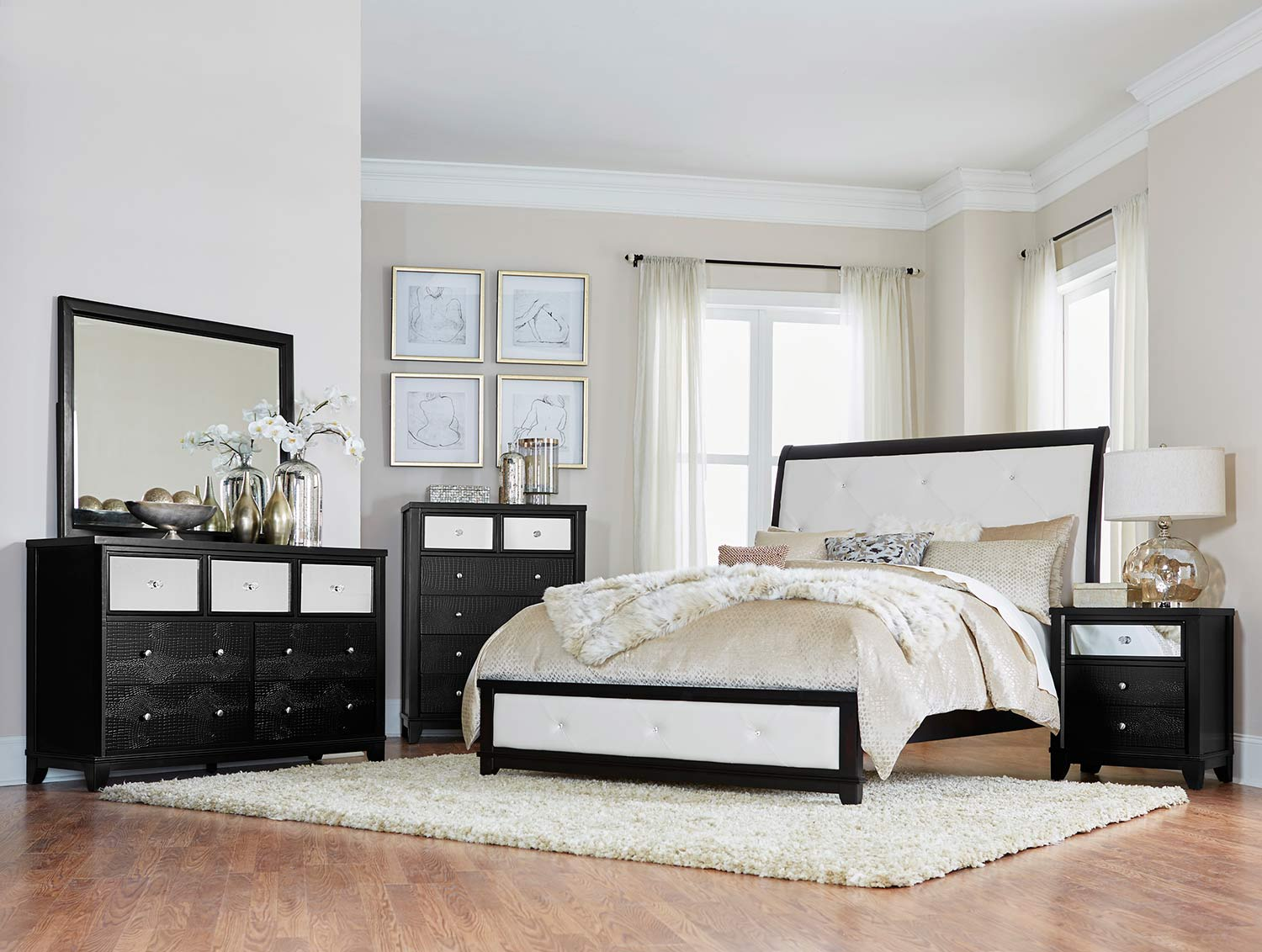 Homelegance Odelia Sleigh Bedroom Set - Black - Pearl White Bi-Cast Vinyl