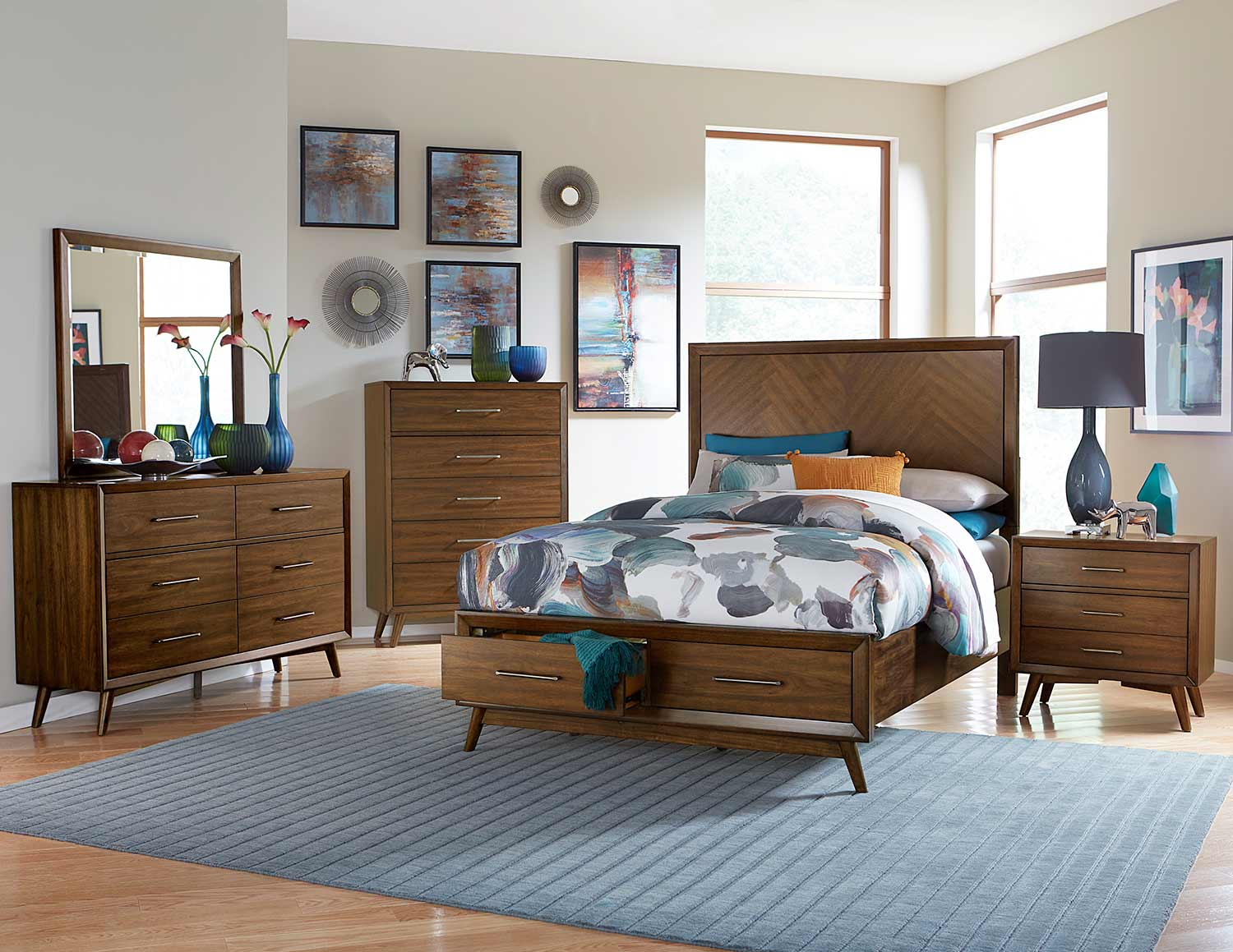Homelegance Raku Platform Bedroom Set - Warm Walnut