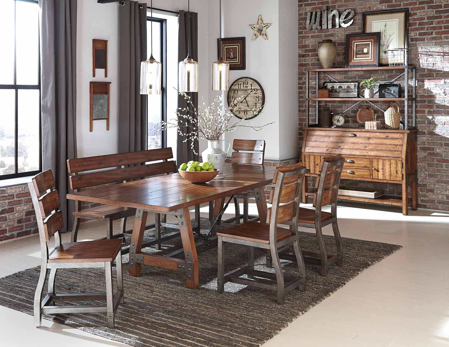 Homelegance Holverson Dining Set - Rustic Brown