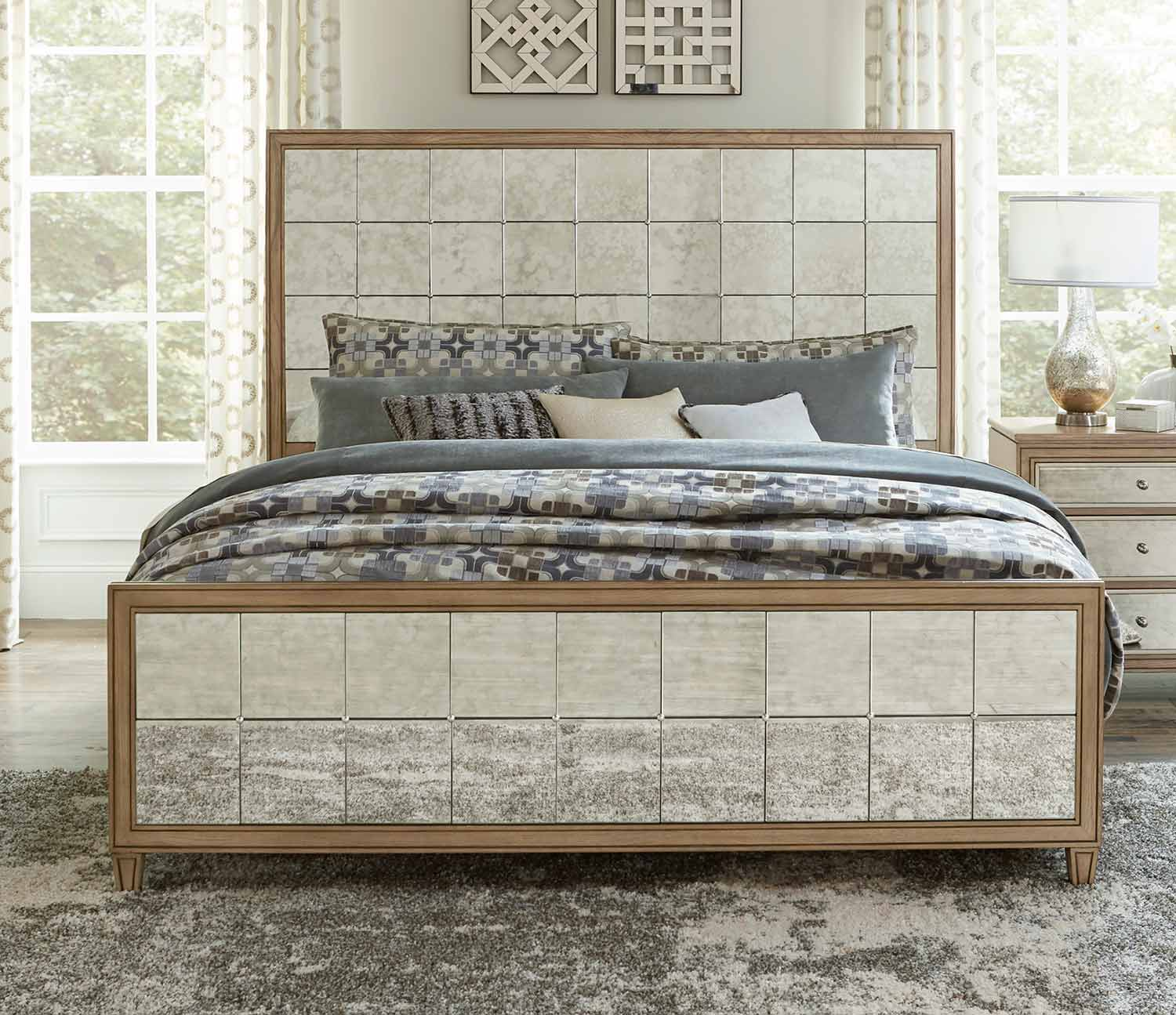 Homelegance Kalette Panel Bed - Light Oak - Antiqued mirrored