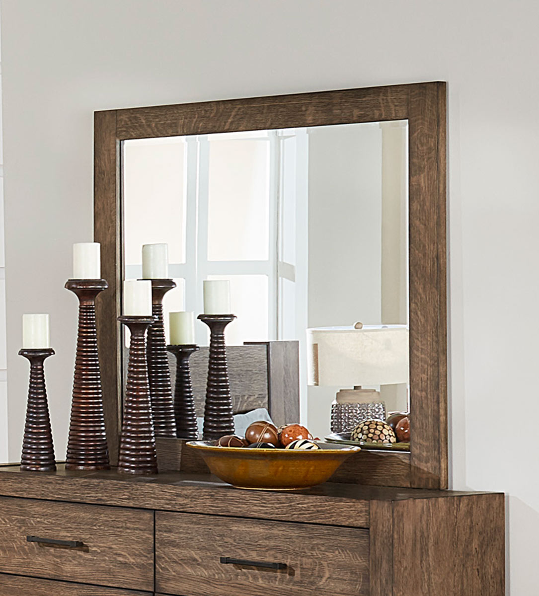 Homelegance Korlan Mirror - Brown Oak