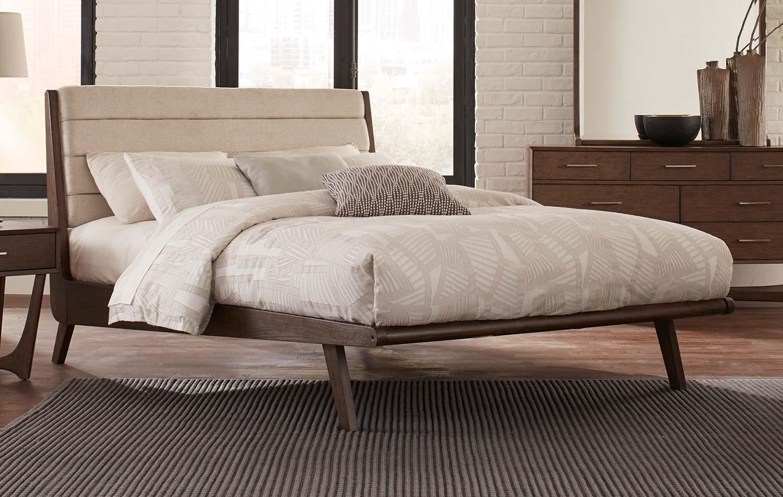 Homelegance Ruote Upholstered Platform Bed - Brown-Gray