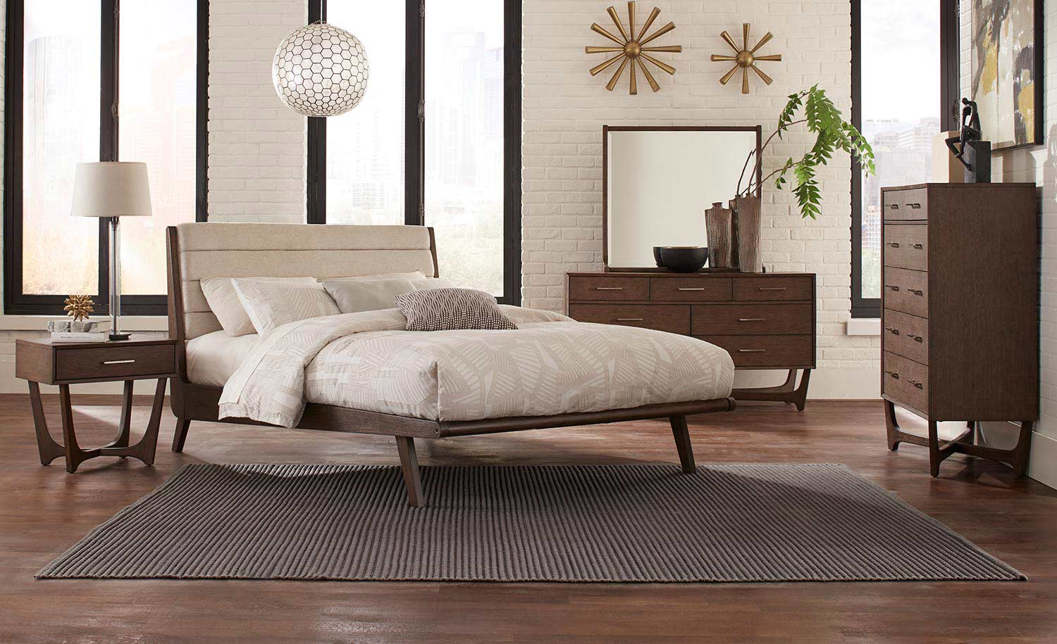 Homelegance Ruote Upholstered Platform Bedroom Set - Brown-Gray
