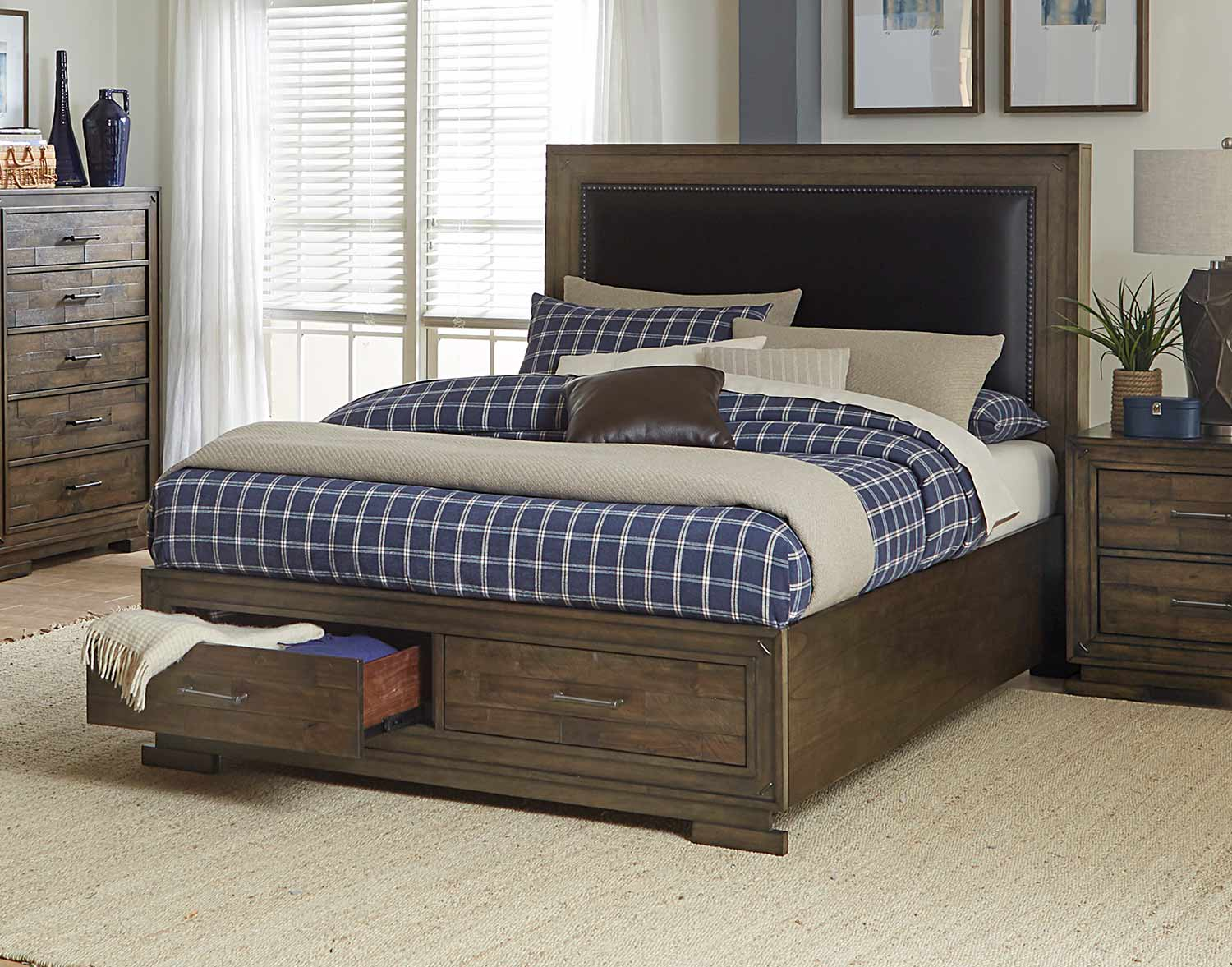 Homelegance Griffon Platform Storage Bed - Antique Brown