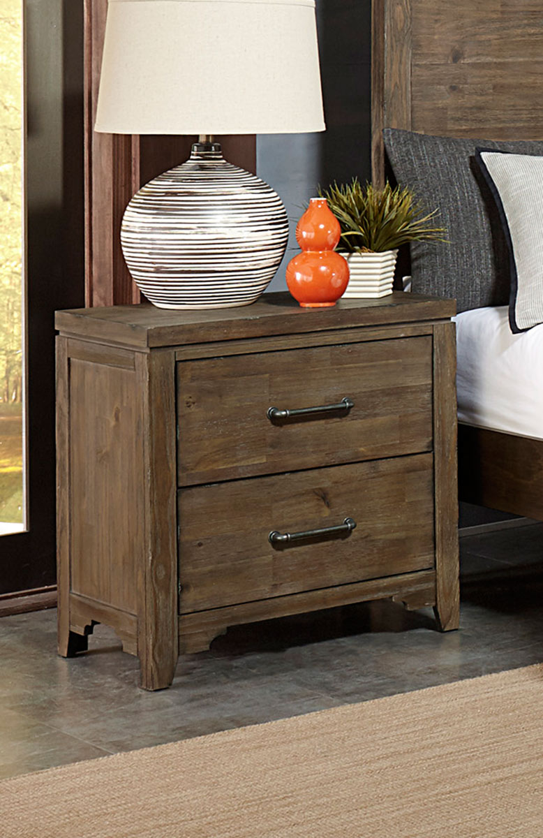 Homelegance Lyer Night Stand - Rustic Brown