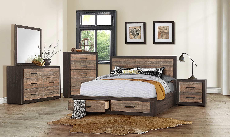 Homelegance Miter Platform Bedroom Set - Mahogany & Ebony