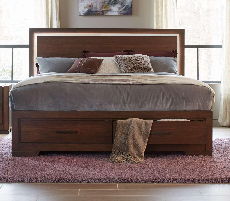 Homelegance Ingrando Platform Bed - Walnut - LED