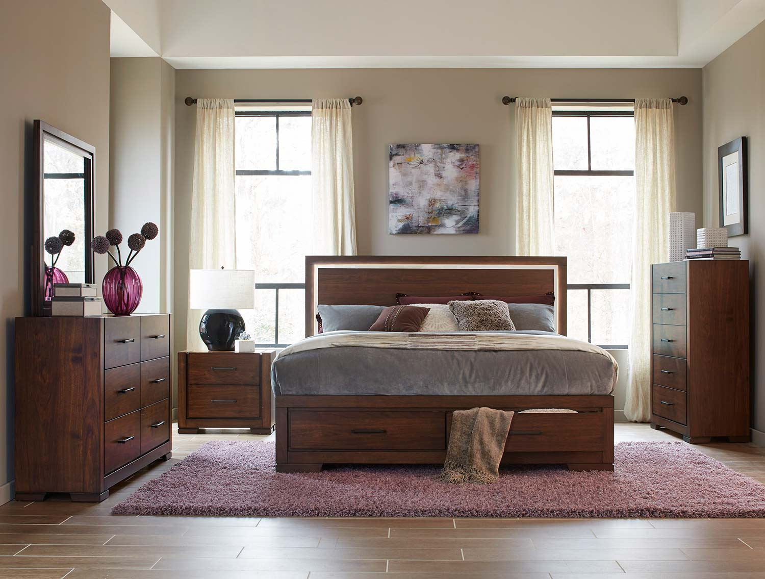 Homelegance Ingrando Platform Bedroom Set - Walnut - LED