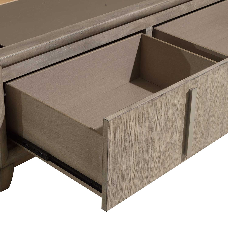 Homelegance McKewen Upholsterd Platform Bed with Footboard Storage - Light Gray