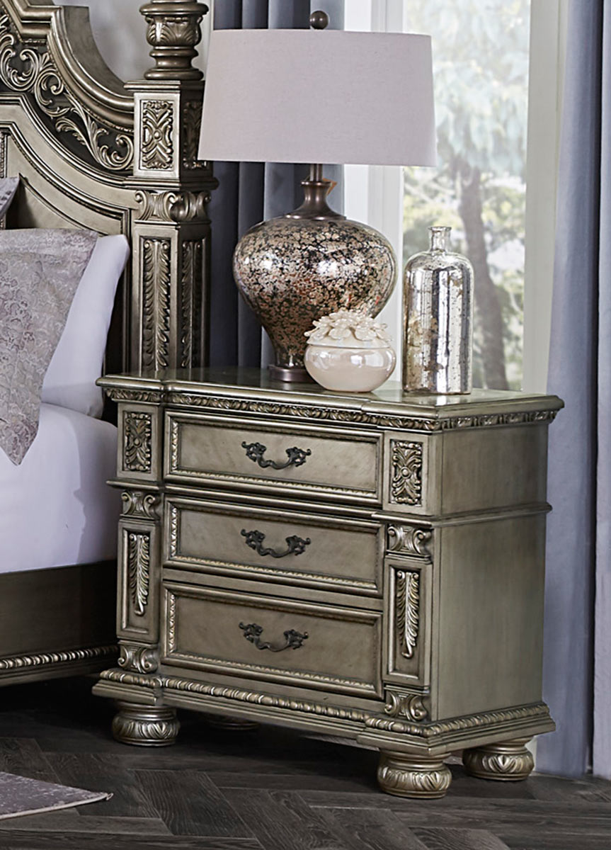 Homelegance Catalonia Night Stand - Traditional Platinum Gold Finish with Cherry Veneer