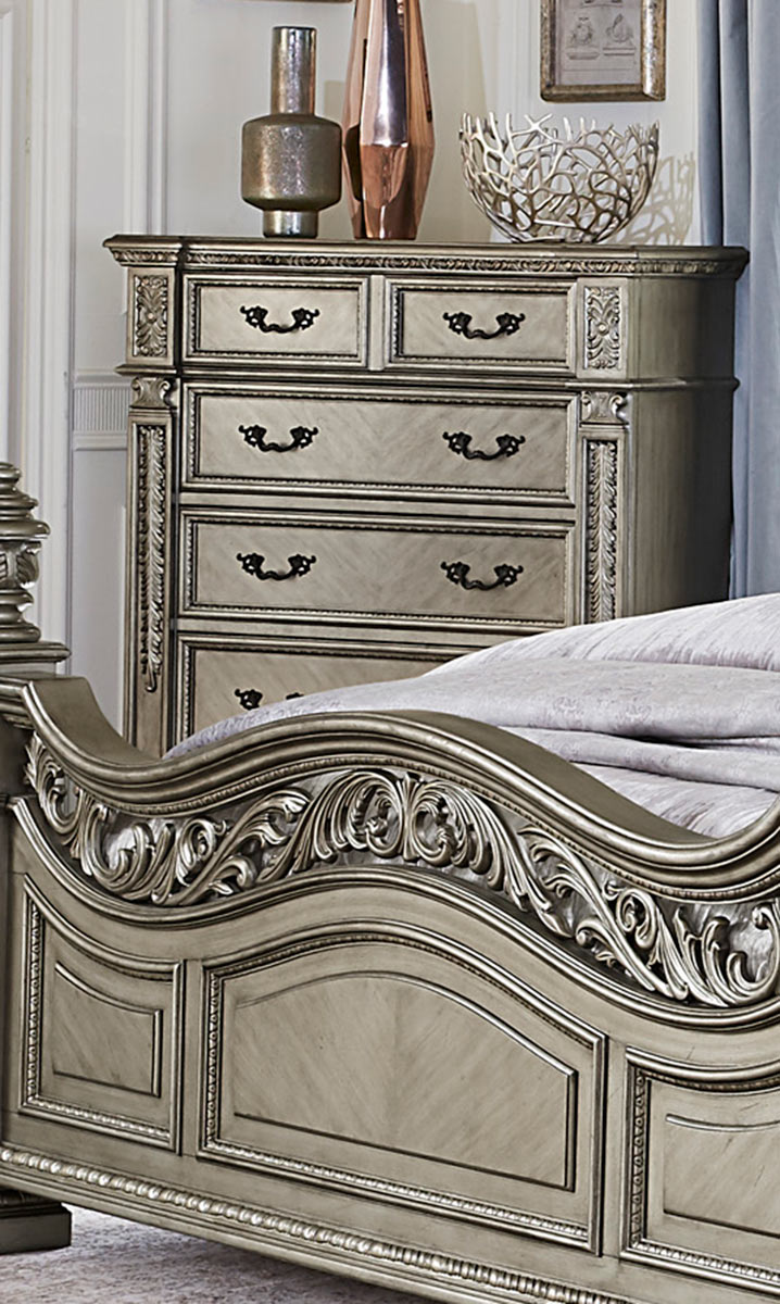 Homelegance Catalonia Chest - Traditional Platinum Gold Finish with Cherry Veneer