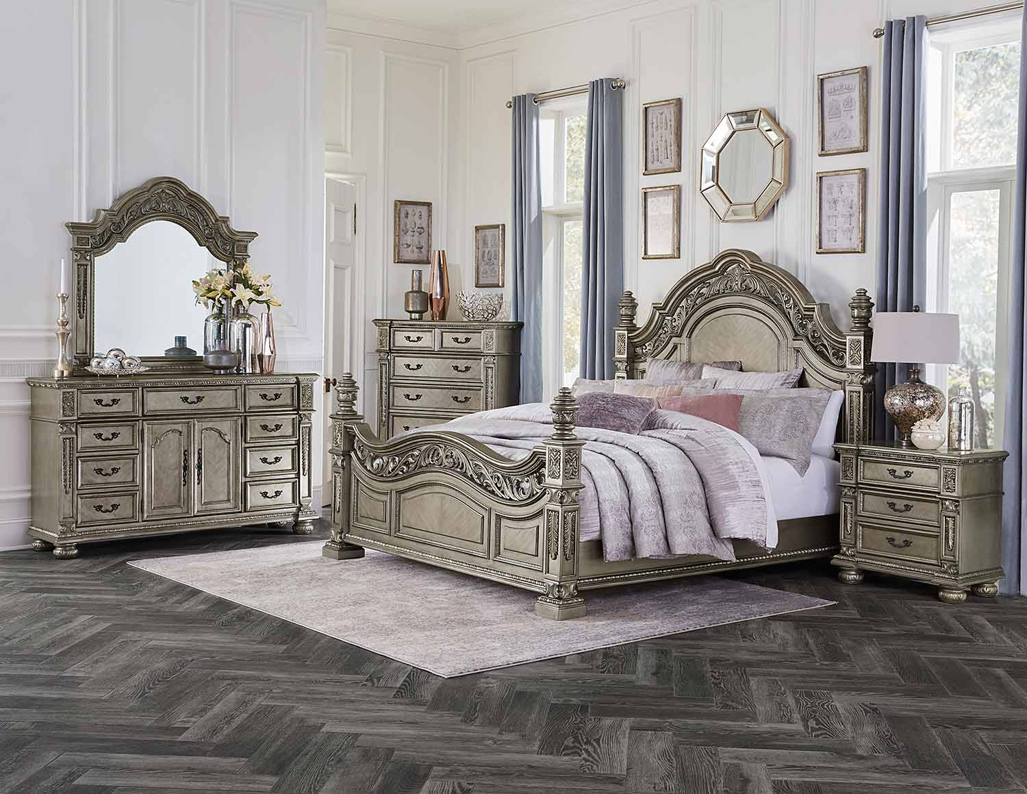 Homelegance Catalonia Bedroom Set - Traditional Platinum Gold Finish with Cherry Veneer