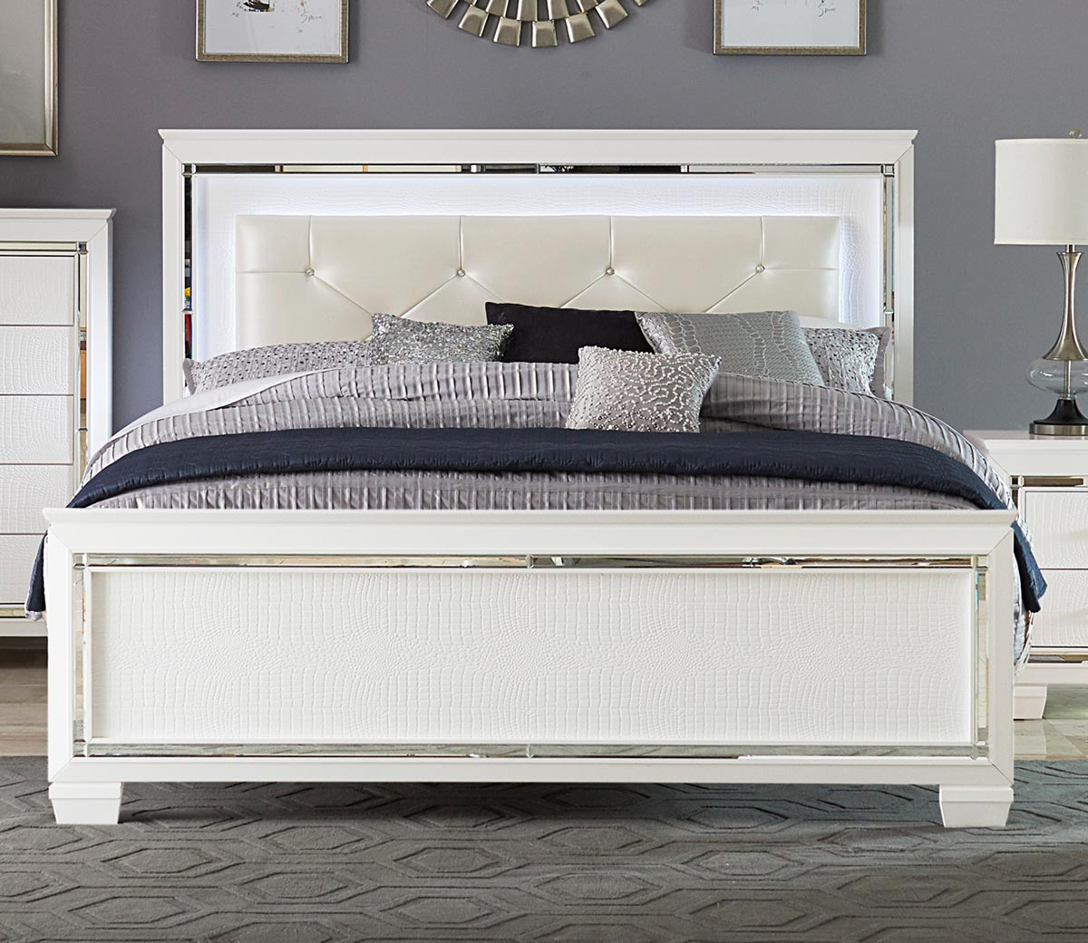 Homelegance Allura Bed with LED Lighting - White