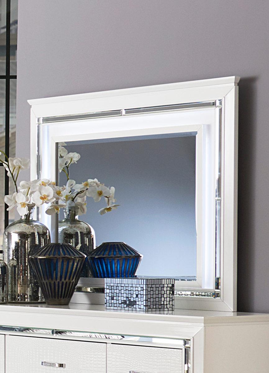 Homelegance Allura Mirror with LED Lighting - White