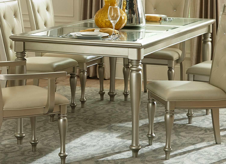 Homelegance Celandine Dining Table - Glass Insert - Silver