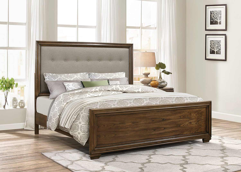 Homelegance Leavitt Upholstered Bed - Brown Cherry