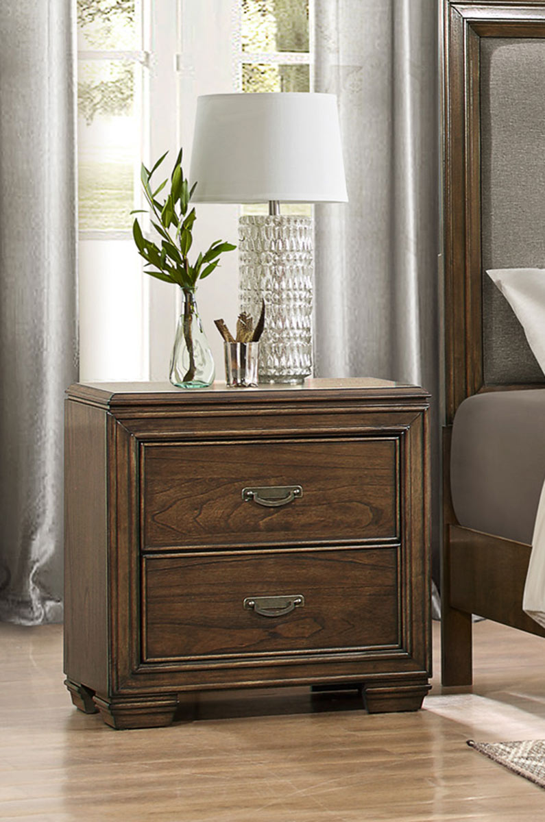 Homelegance Leavitt Night Stand - Brown Cherry