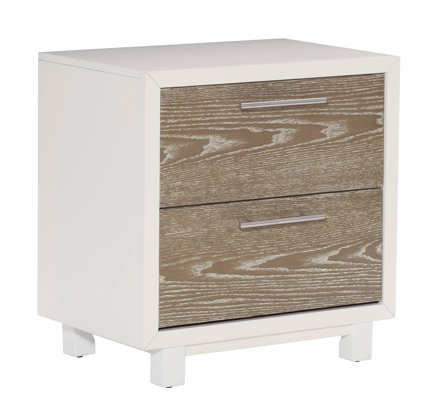 Homelegance Renly Night Stand - Natural Finish of Oak Veneer with White Framing