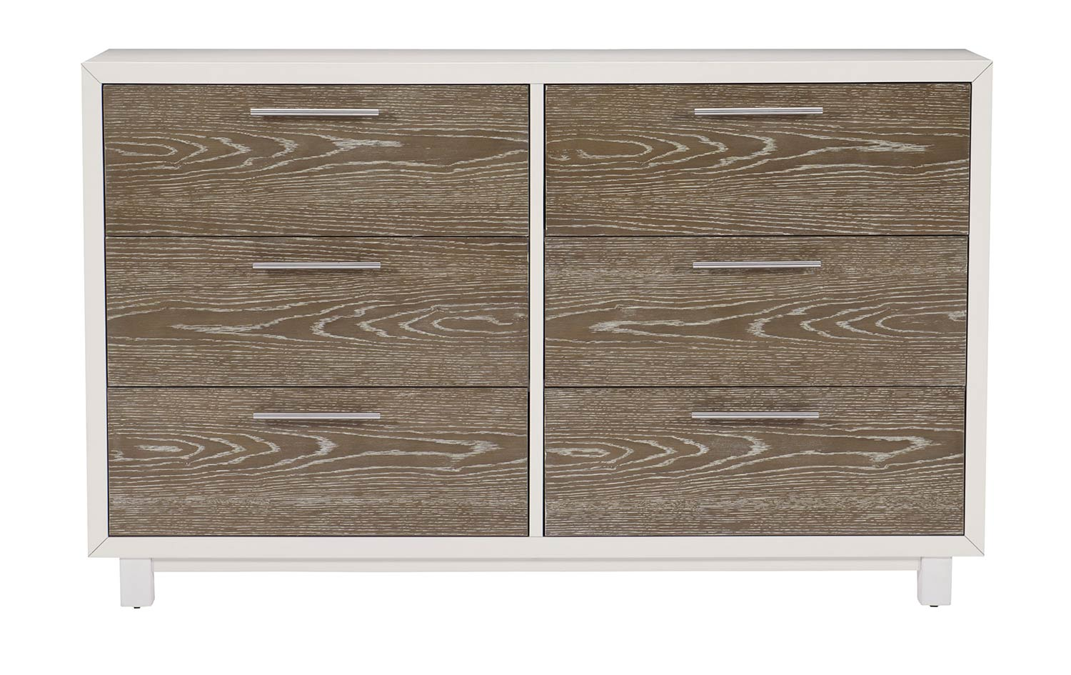 Homelegance Renly Dresser - Natural Finish of Oak Veneer with White Framing