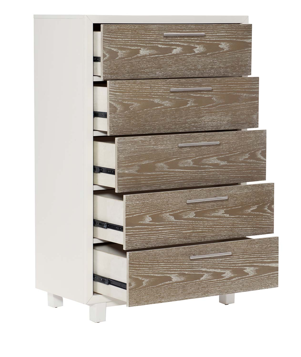 Homelegance Renly Chest - Natural Finish of Oak Veneer with White Framing