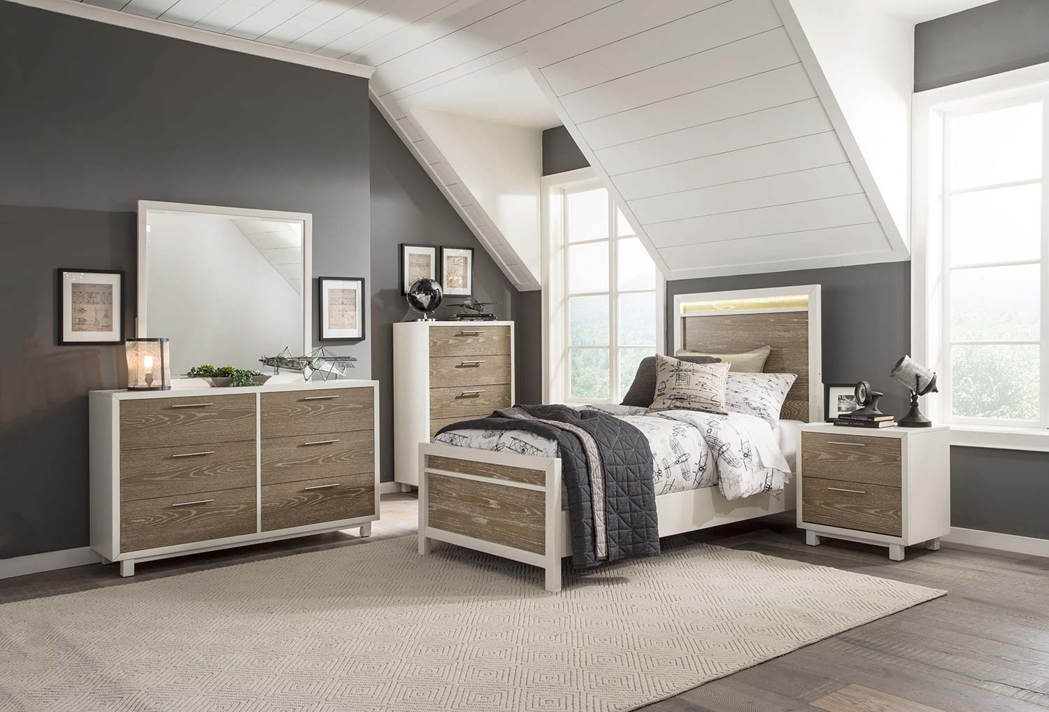 Homelegance Renly LED Bedroom Set - Natural Finish of Oak Veneer with White Framing