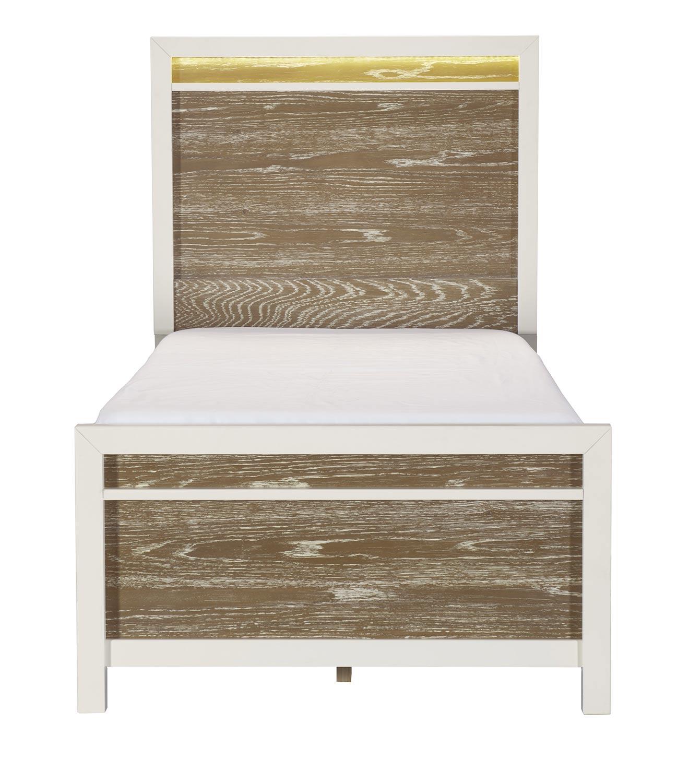 Homelegance Renly Bed with LED Lighting - Natural Finish of Oak Veneer with White Framing