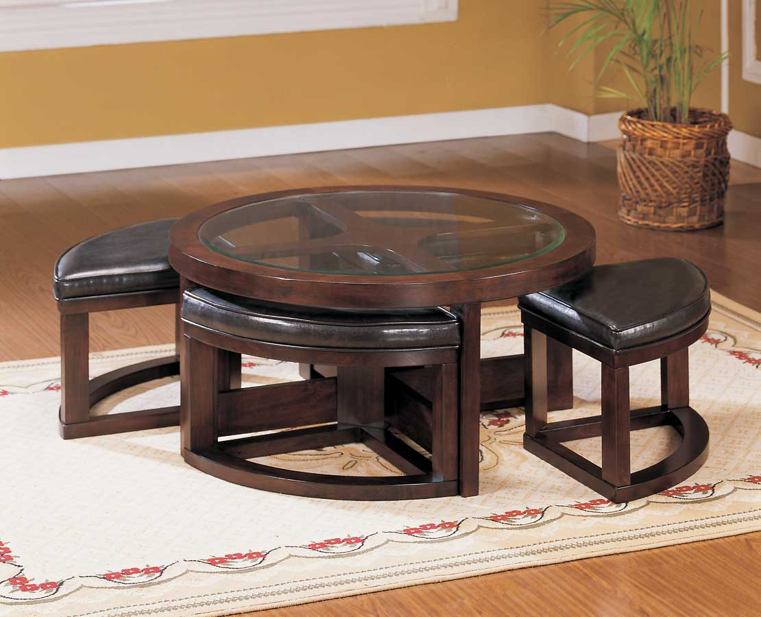 Homelegance brussel round cocktail table with 4 ottomans for Round cocktail table with stools