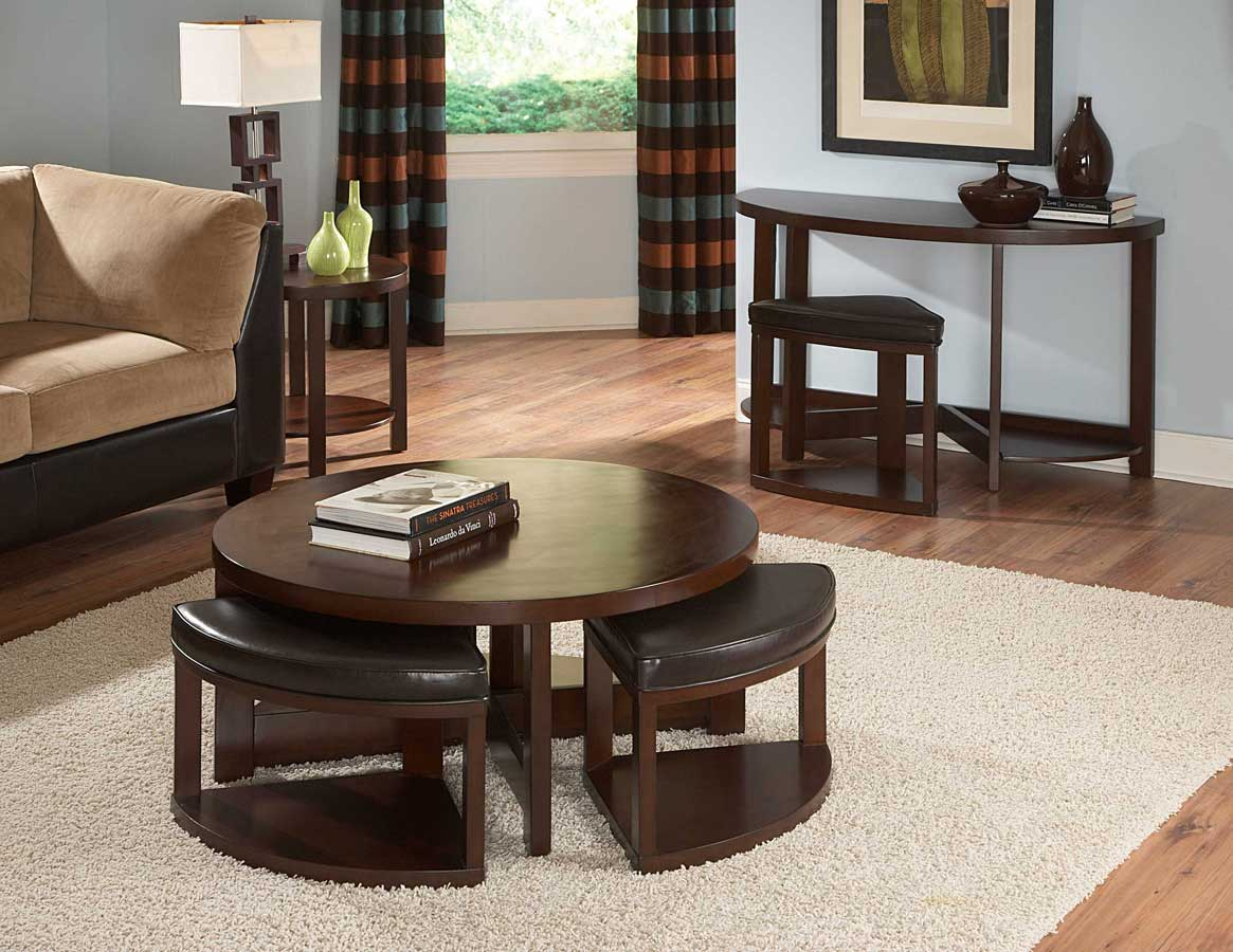 Homelegance Brussel II Round Cocktail Table with 4 ottomans